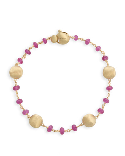 18k Gold Africa Ruby Bracelet
