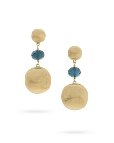 Africa 18k London Blue Topaz Drop Earrings