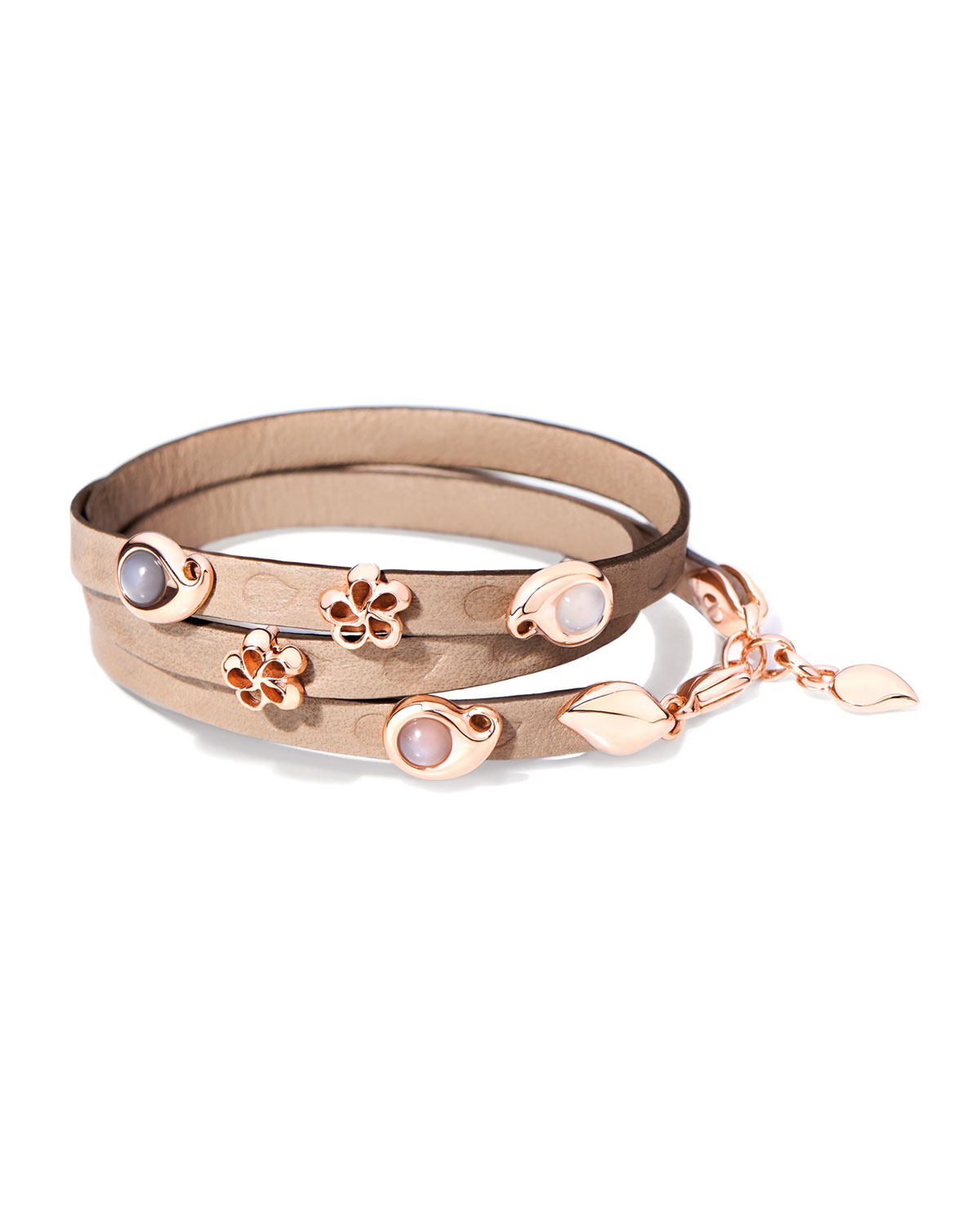 TAMARA COMOLLI Loopy Mixed Cabochon Leather Wrap Bracelet With Rose Gold