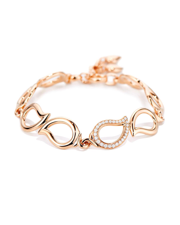 Signature 18K Rose Gold Small Diamond Chain Bracelet