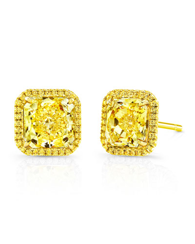 18k Fancy Intense Diamond Stud Earrings
