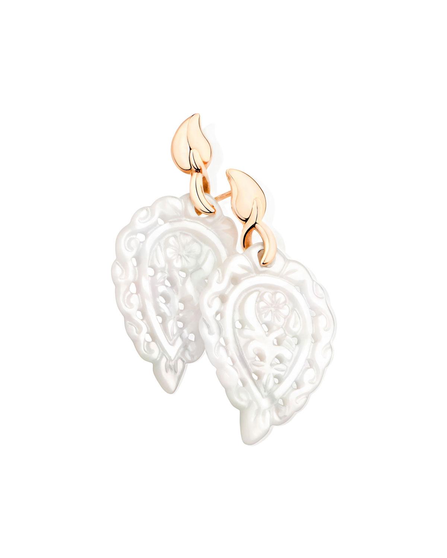 TAMARA COMOLLI India 18K Rose Gold Mother-Of-Pearl Leaf Earrings