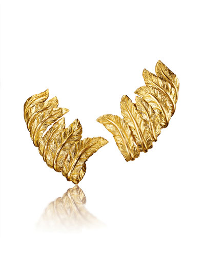 18k Gold Feather Clip-On Earrings