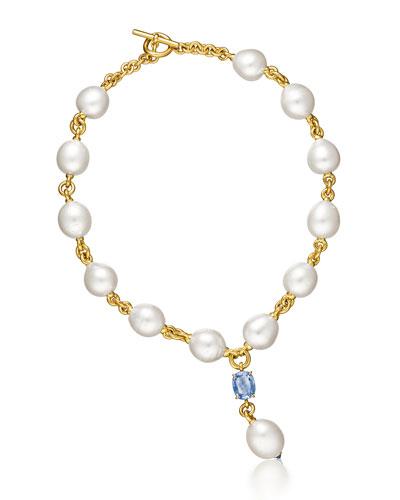 South Sea Pearl & Sapphire Y Necklace