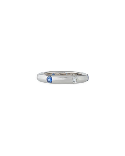18K White Gold Band Ring with Inset Diamonds & Sapphire, Size 7