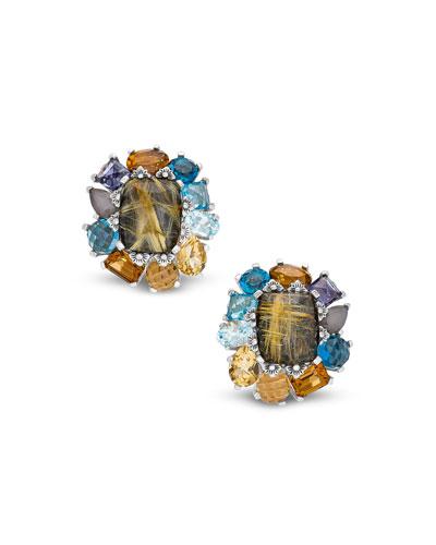 Multi-Stone Flower Stud Clip-On Earrings