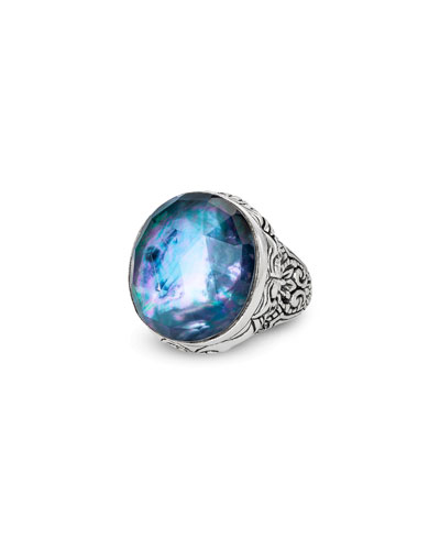 Markie Engraved Blue Quartz/Mother-of-Pearl/Black Agate Ring, Size 7