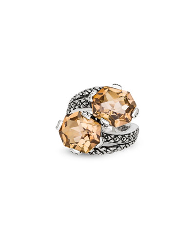 Champagne Quartz Bypass Ring, Size 7
