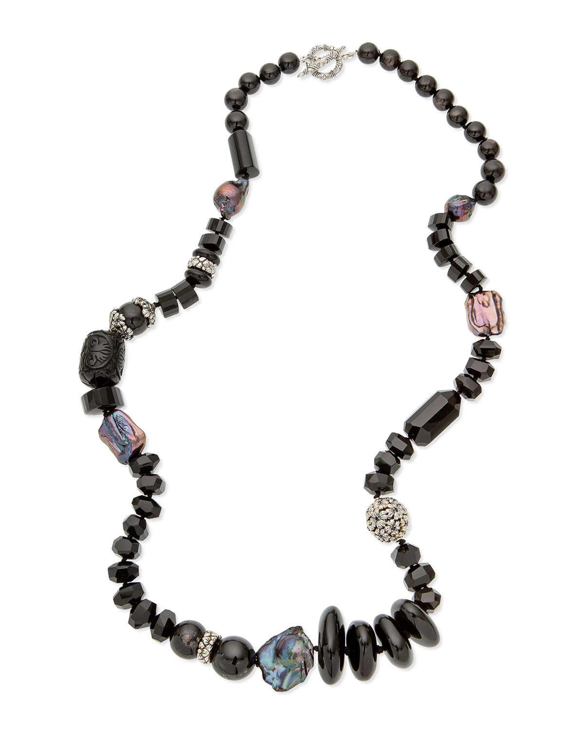STEPHEN DWECK Long Carved Black Agate Bead Necklace