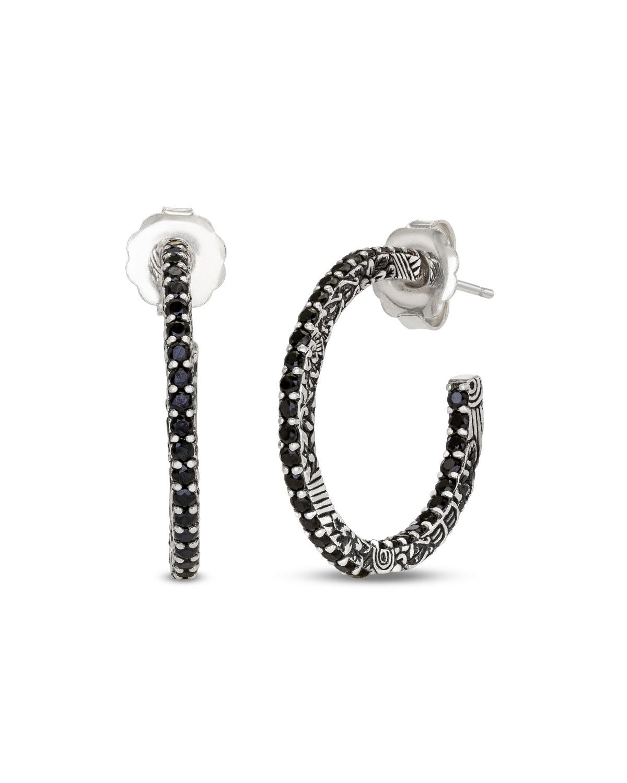 STEPHEN DWECK Medium Black Spinel Hoop Earrings