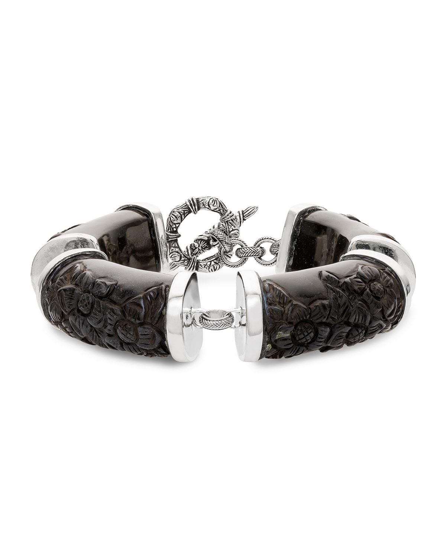 STEPHEN DWECK Black Agate Carved Flower Station Bracelet