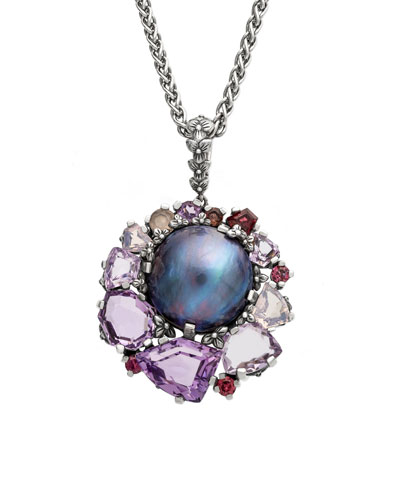 Pearl & Mixed-Stone Pendant Necklace