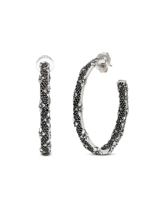 STEPHEN DWECK Large Black Spinel Hoop Earrings