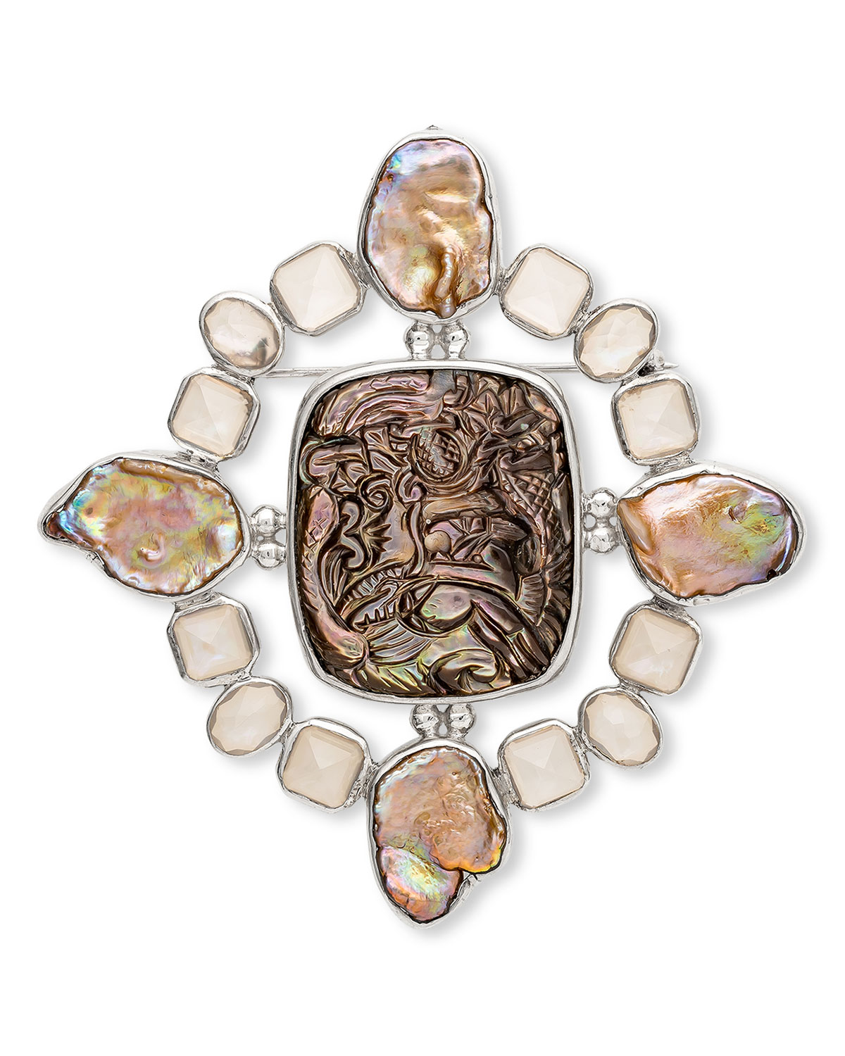 Hand-Carved Mother-of-Pearl Quartz Keshi Pearl Brooch