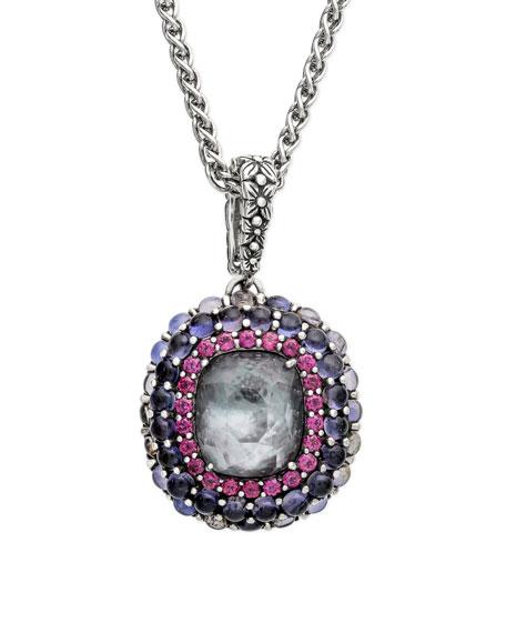 Stephen Dweck Multi-Stone Pendant Necklace w/ Iolite/Garnet/Quartz