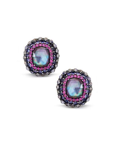 Multi-Stone Clip-On Earrings w/ Iolite/Garnet/Quartz