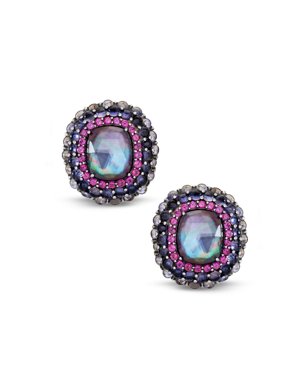 STEPHEN DWECK Multi-Stone Clip-On Earrings W/ Iolite/Garnet/Quartz in Purple