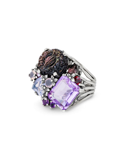 Carved Mother-of-Pearl & Amethyst Ring, Size 7