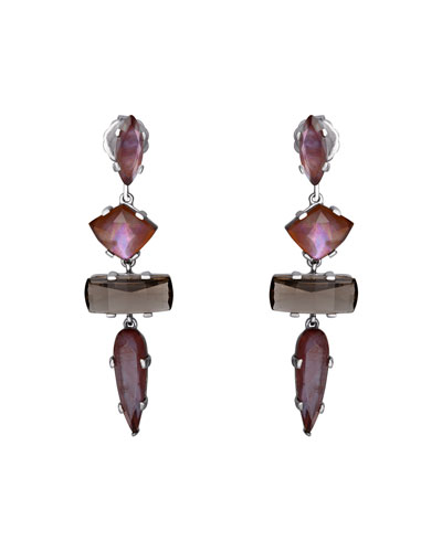 Mixed Quartz 4-Stone Drop Earrings