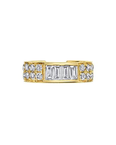 18k Gold Baguette & Diamond Ear Cuff (Single)