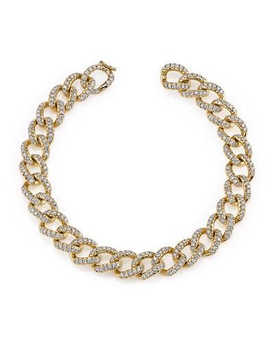 18k Rose Gold Small Diamond Chain Link Bracelet
