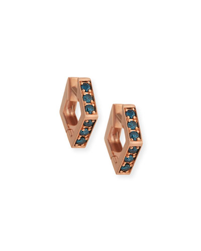 14k Rose Gold Blue Diamond Mini Octagon Hoop Earrings