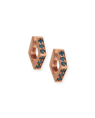 14k Rose Gold Blue Diamond Mini Octagon Hoop Earrings