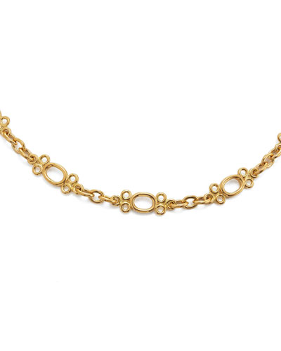 18k Gold Oval & Round Chain Necklace