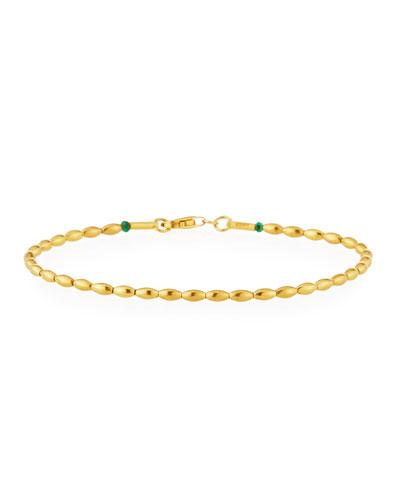 24k Gold & Emerald Delicate Bead Bracelet