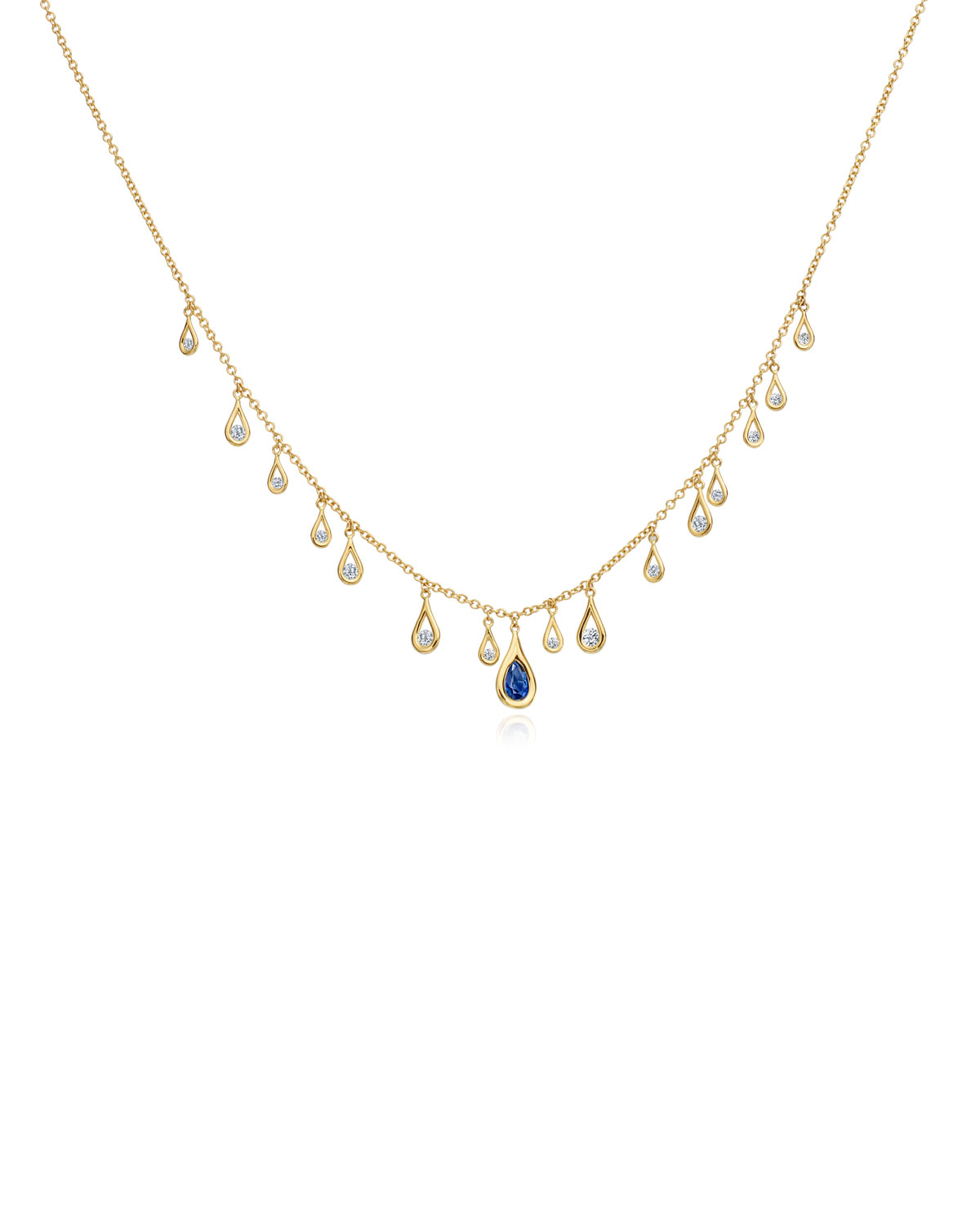 MARIA CANALE 18K Gold, Diamond & Sapphire Drop Necklace