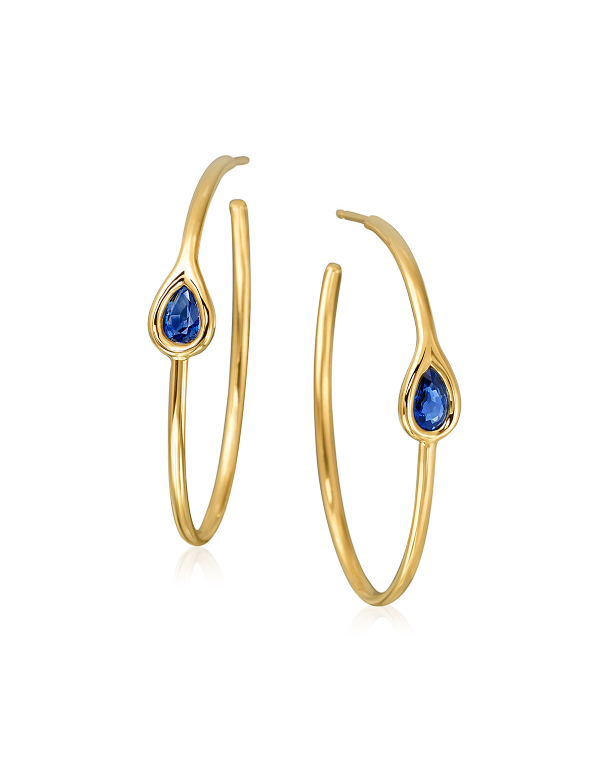 18k Gold Oval Post Hoop Earrings with Sapphire