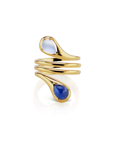 18k Gold Two-Stone Coil Ring, Size 6