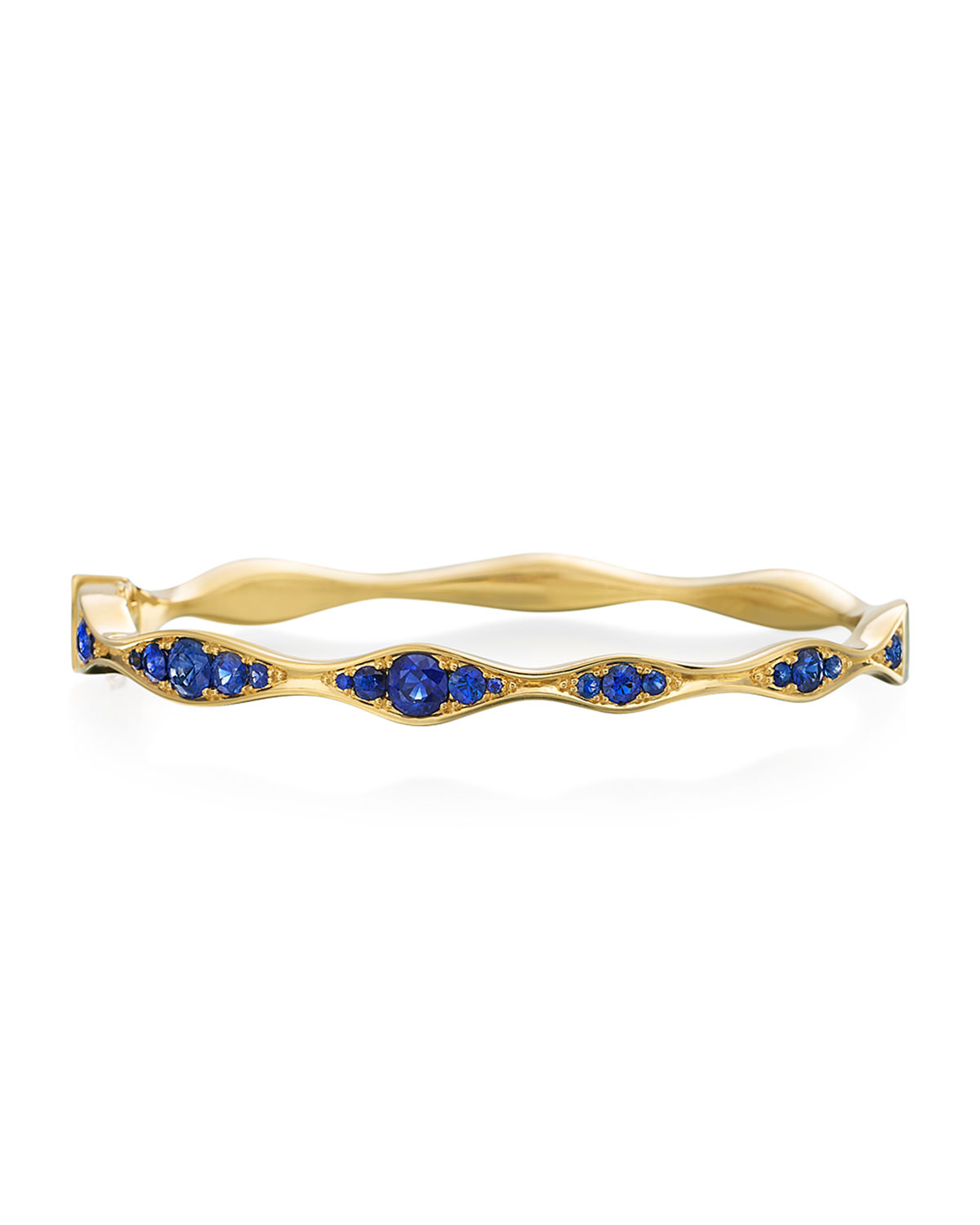 MARIA CANALE 18K Gold Half Blue Sapphire Wave Bangle
