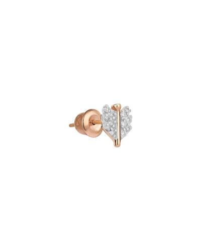 14k Rose Gold Mini Quill Earring (Single), White