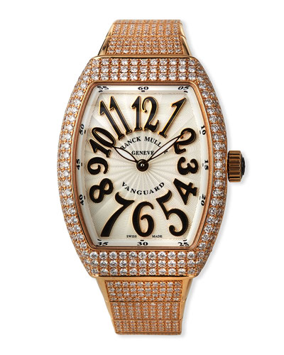 Vanguard 18k Rose Gold Diamond Bracelet Watch