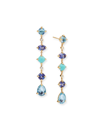 Chatelaine 18k Multi-Drop Earrings, Blue