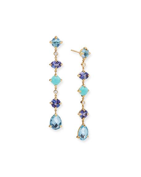 David Yurman Chatelaine 18k Multi-Drop Earrings, Blue