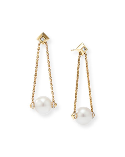 Solari 18k Gold Diamond & Pearl Drop Earrings