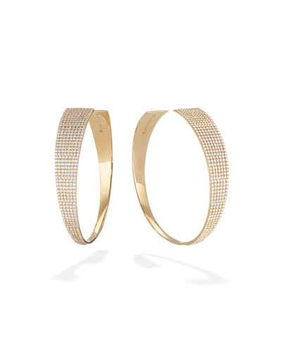 Gloss 14k Gold Diamond Upside-Down Hoop Earrings