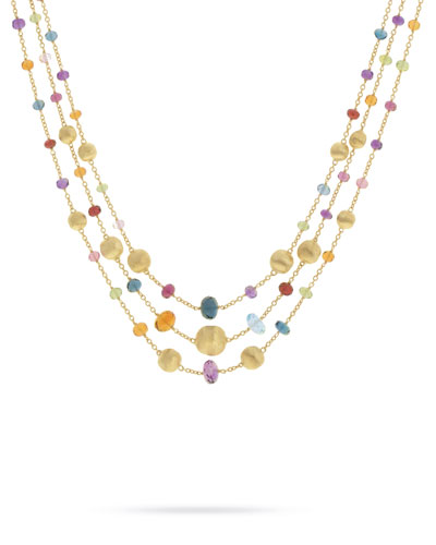 Africa 18k Mixed Gemstone 3-Strand Necklace