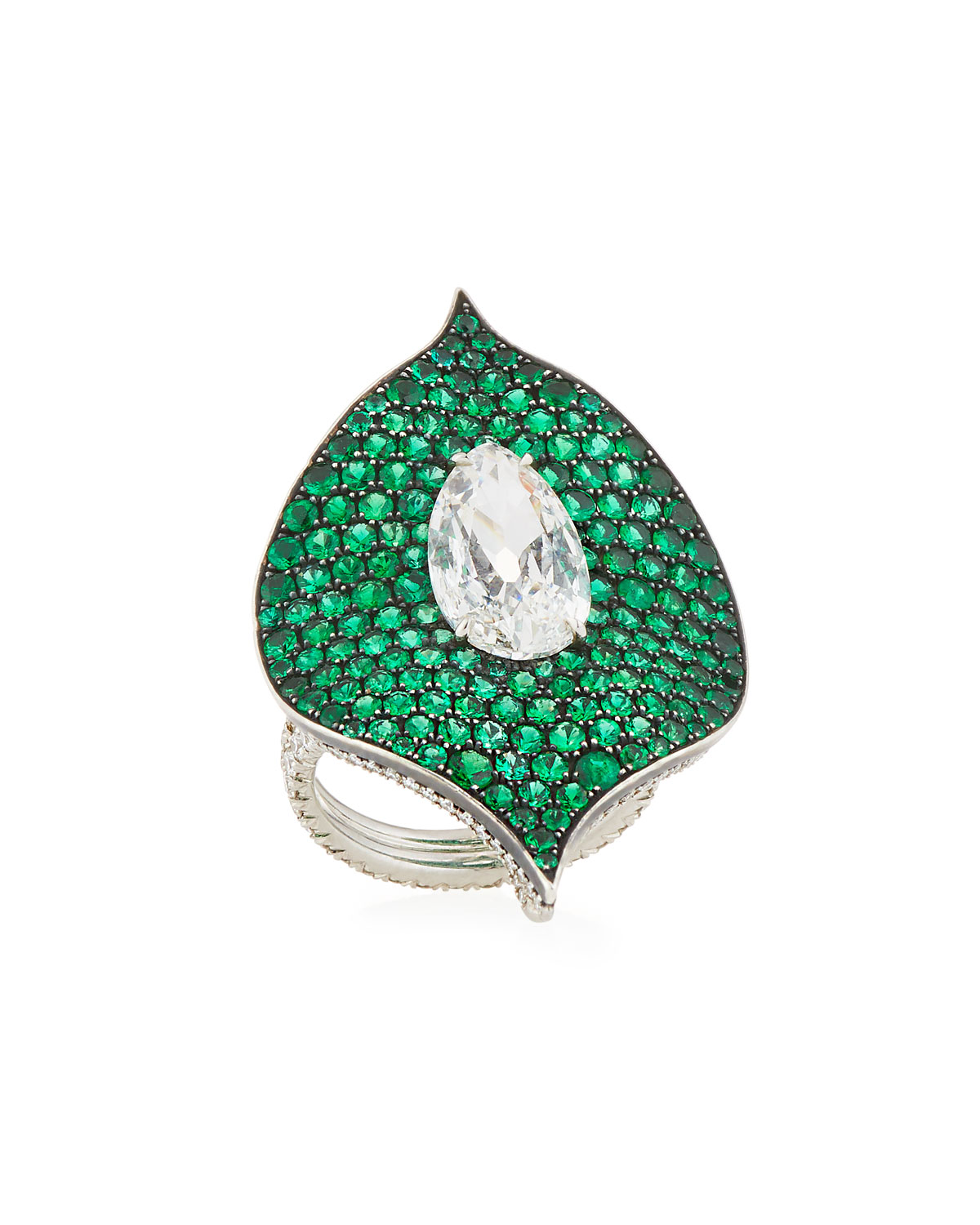 BAYCO Platinum, Emerald & Diamond Ring