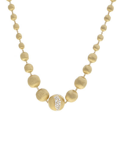Africa 18k Gold Graduating Bead & Diamond Necklace