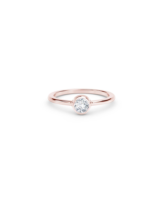 18k Rose Gold Diamond Bezel Solitaire Engagement Ring