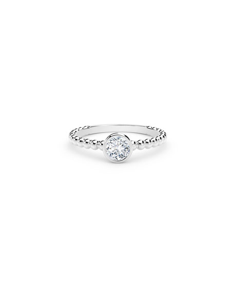 Forevermark 18k White Gold Diamond Halfway Beaded Ring, Size 6.5