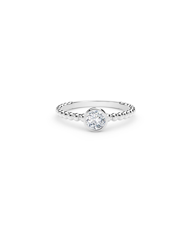 18k White Gold Diamond Halfway Beaded Engagement Ring