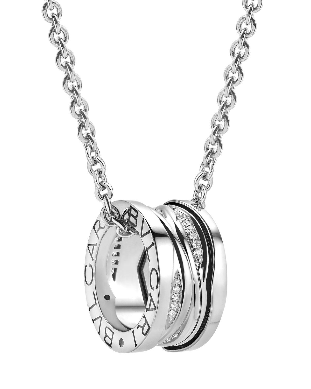 B.Zero1 18k White Gold Diamond Pave Charm Necklace