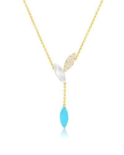 Petals 18k Rose Gold Turquoise, Diamond & Mother-of-Pearl Necklace