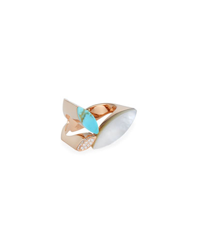 Petals 18k Rose Gold Turquoise, Diamond & Mother-of-Pearl Ring, Size 6.5