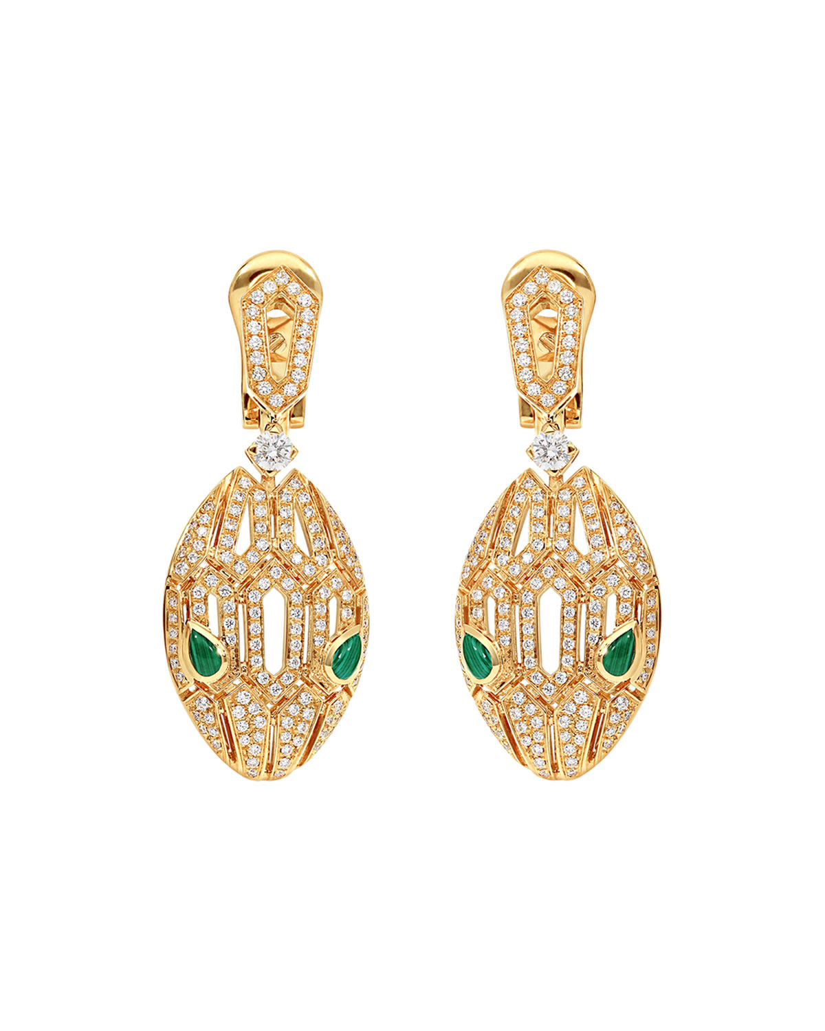 Serpenti Drop Earrings in 18k Rose Gold with Diamonds and Malachite