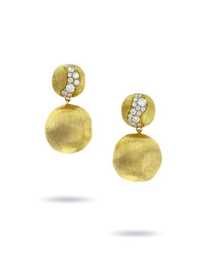 18k Gold Africa Diamond Constellation Double-Drop Earrings